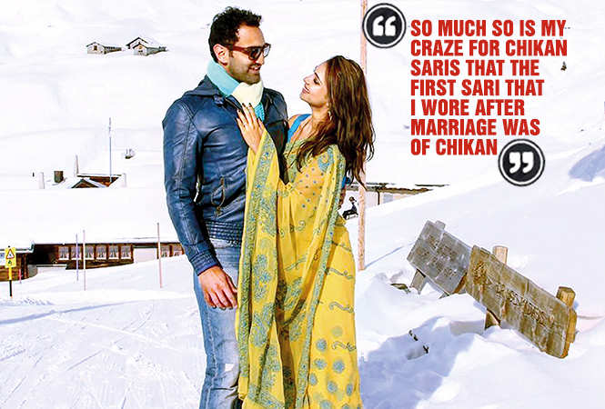 """""""I wanted a typically  filmi photo in a flowing sari  in the snow clad mountains,"""" says Pooja, seen here  wearing a chikan sari with hubby during their  honeymoon in Switzerland. (BCCL)"""