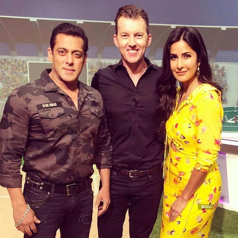 Brett Lee with Salman Khan and Katrina Kaif