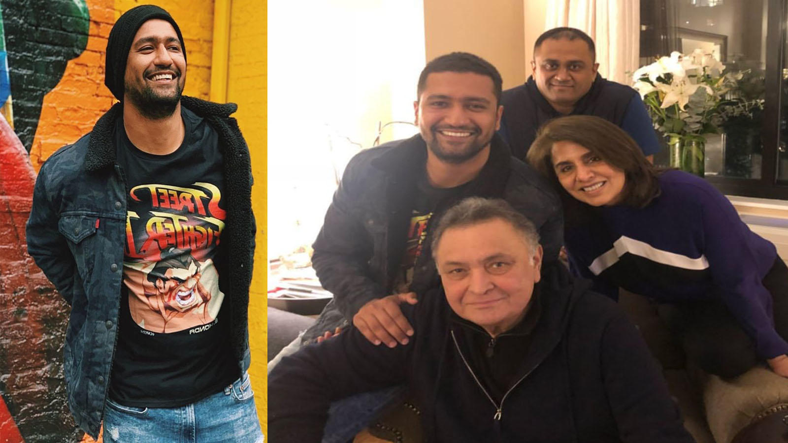 Vicky Kaushal pays a visit to Rishi Kapoor and Neetu Kapoor in New York