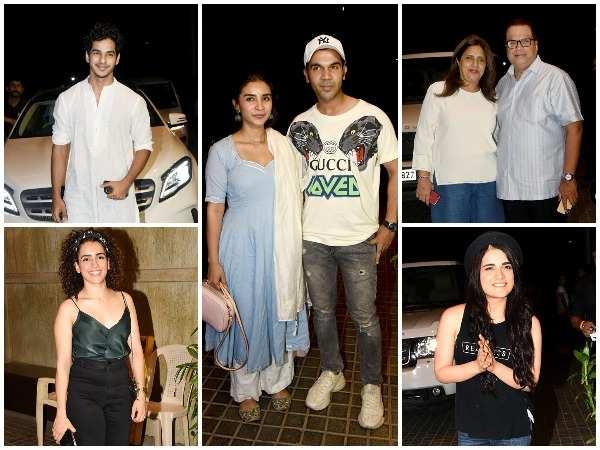 (Clockwise) Ishan Khatter, Patralekha -Rajkummar Rao,Ramesh-Varsha Taurani, Radhika Madan and Sanya Malhotra