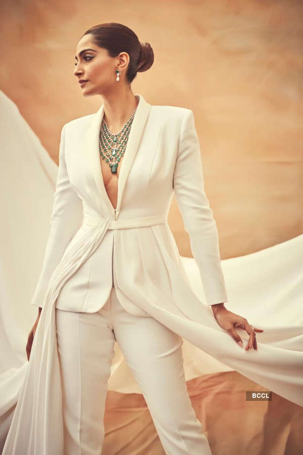 Sonam Kapoor sets hearts racing in a bold white couture tuxedo at Cannes 2019