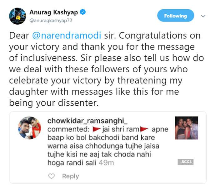 Anurag Kashyap complains to PM Modi after daughter receives rape threats
