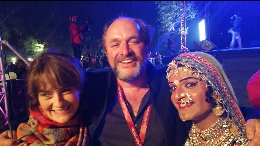 William Dalrymple and his wife Olivia with Queen Harish
