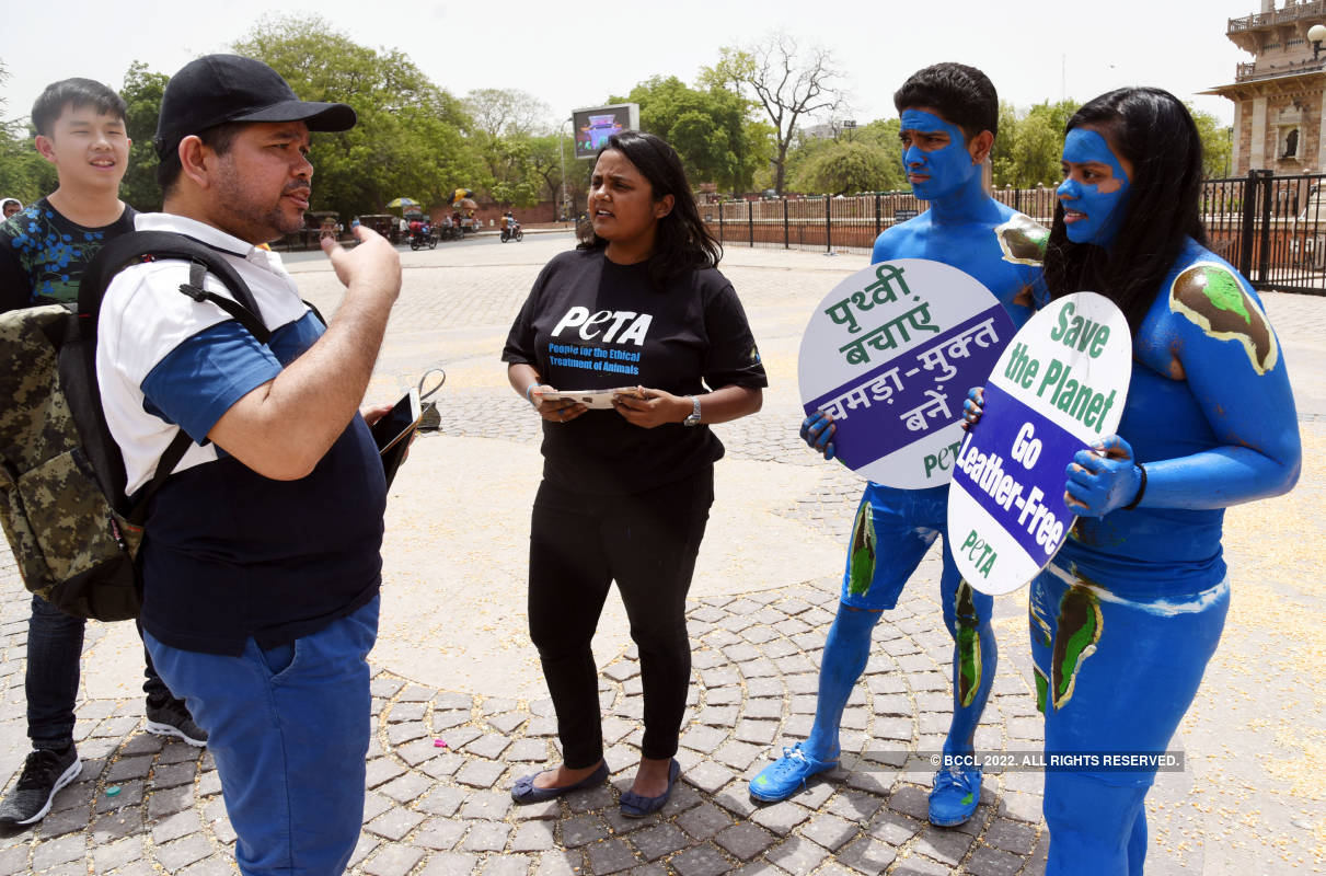 PETA members protest against the use of leather products