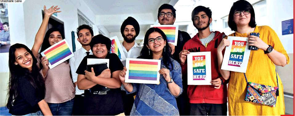 Students of Symbiosis School of Liberal Arts, Pune at an event organised by on-campus support group —Queer Qrew