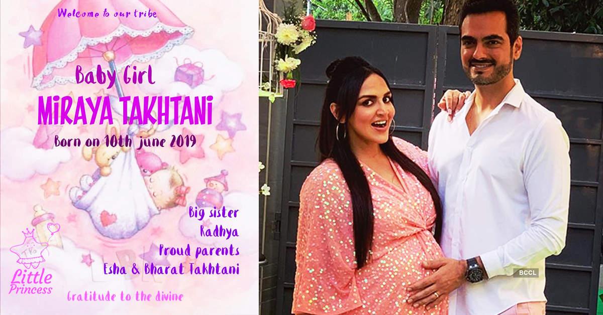 Esha Deol and Bharat Takhtani welcome baby girl Miraya Takhtani