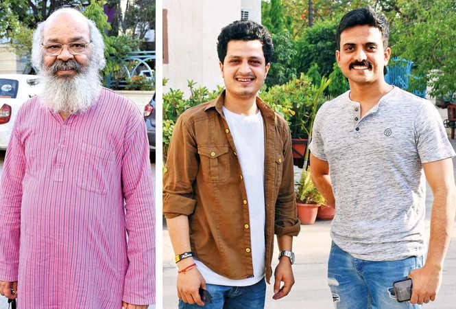 (L) Surya Mohan Kulshreshtha (R) Tushar Bajpai and Yogendra Singh  (BCCL/ Vishnu Jaiswal)