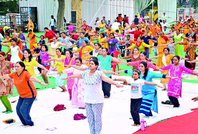 Ladies and kids also joined the Yoga Day celebrations (BCCL/ AS Rathor and IB Singh)