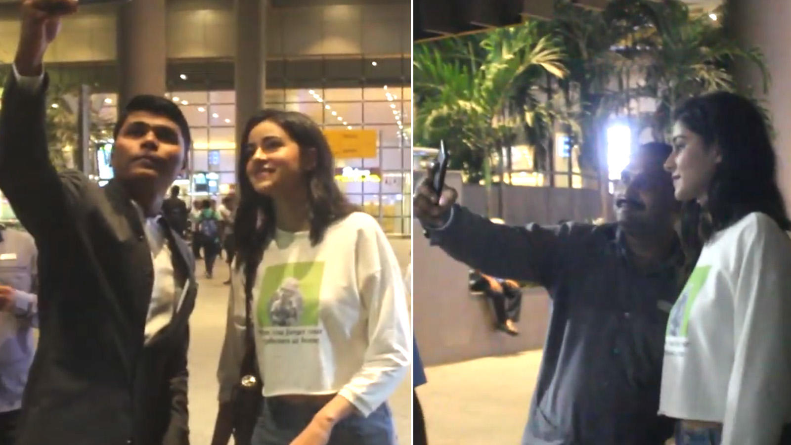 Ananya Panday poses for selfies with fans at the airport