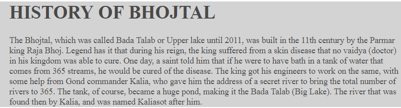 history of bhojtal bhoapl