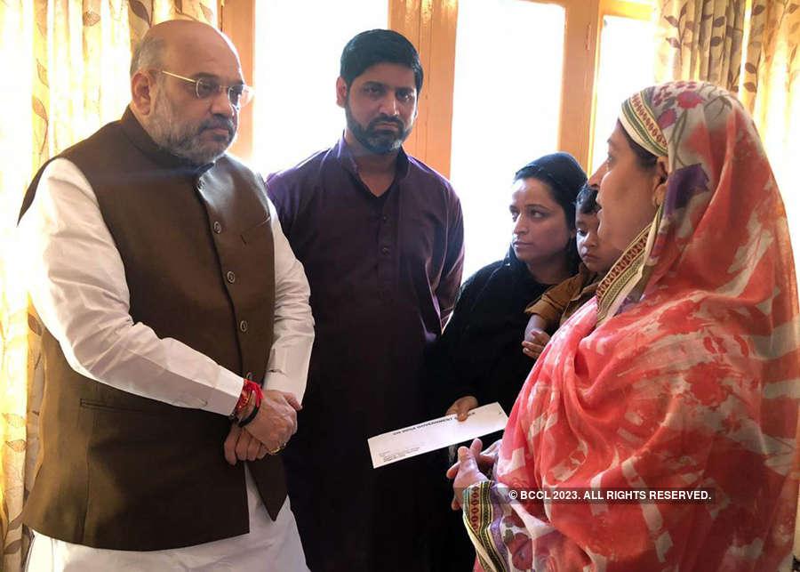 J&K: Amit Shah meets family of slain SHO Arshad Khan