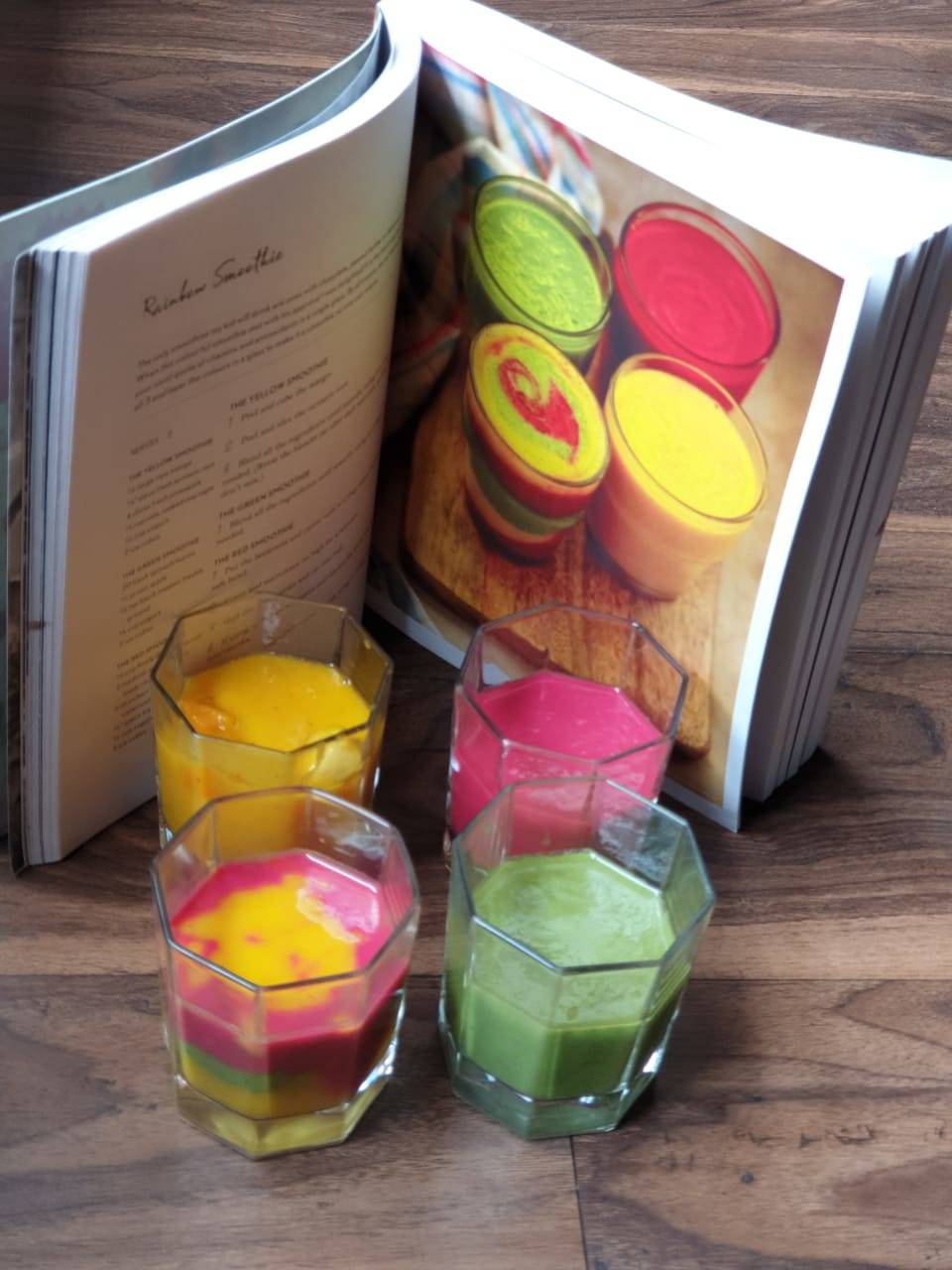 Rainbow smoothie made from a recipe based out of a cook book