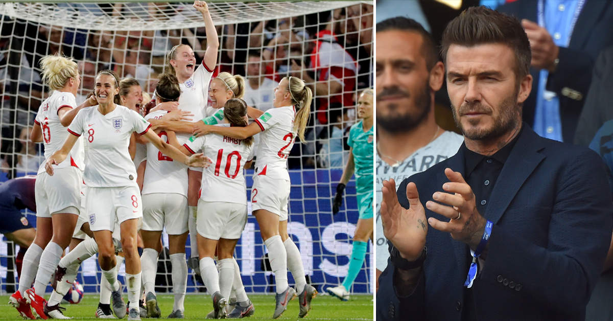 Beckham shows support as England women's football team beat Norway
