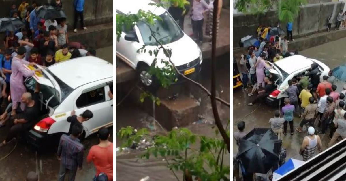 Watch: Locals save car from falling into nullah in Bhiwandi