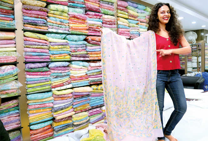 Bidita visited a local chikan shop on her recent visit (BCCL/ Aditya Yadav)