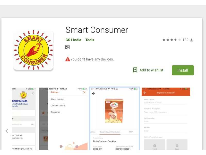 Download the Smart Consumer app by GS1 available on both Android and iOS