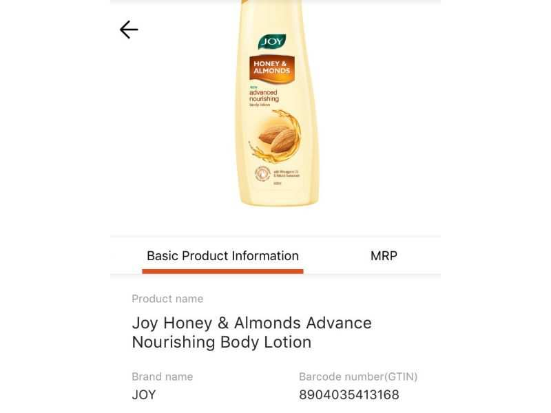 On scanning, the app will immediately showcase the exact details of the product that you are using