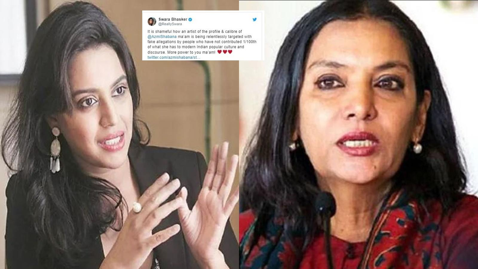 Swara Bhasker supports Shabana Azmi over her remarks on government