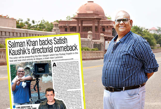 Satish Kaushik and (inset) the article published in LT on Wednesday, July 10, about Salman Khan producing the film (BCCL/ Vishnu Jaiswal)