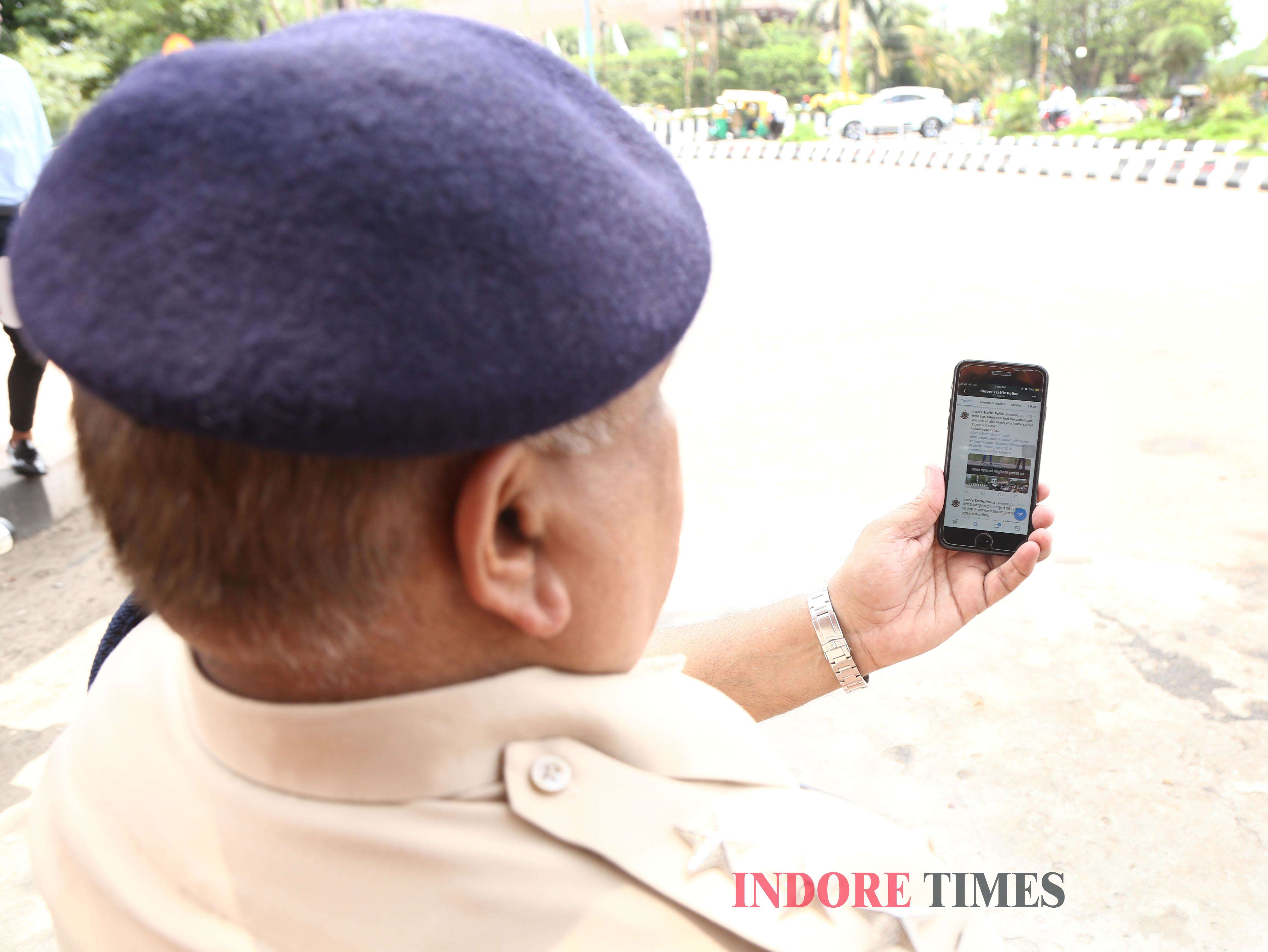 DSP Traffic SK Upadhayay checking out twitter handle_edit
