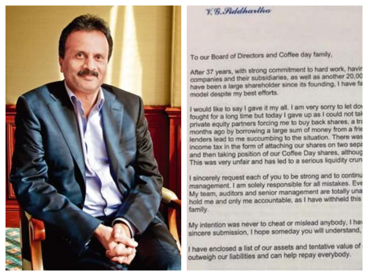 Missing CCD founder V G Siddhartha's last letter is heat-melting