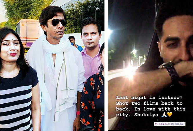 (L) Actor Vijay Raaz getting clicked with his fans (R) Ayushmann shared this on his instagram account (BCCL/ Aditya Yadav)