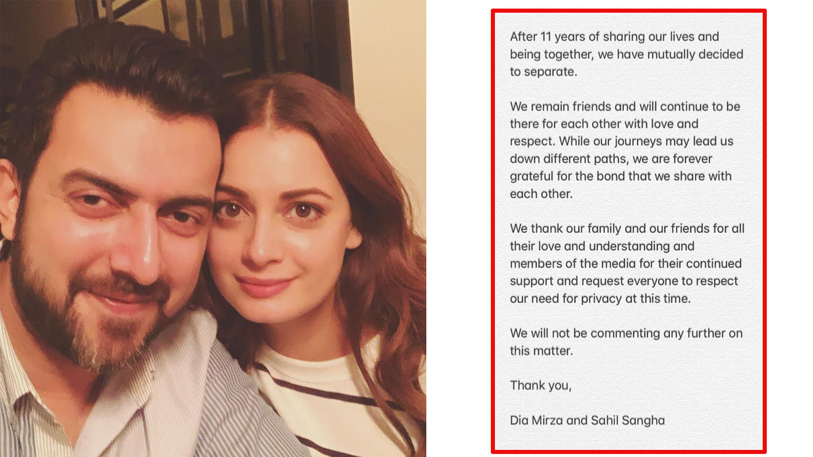 After 5 years of marriage, Dia Mirza and husband Sahil Sangha announce separation
