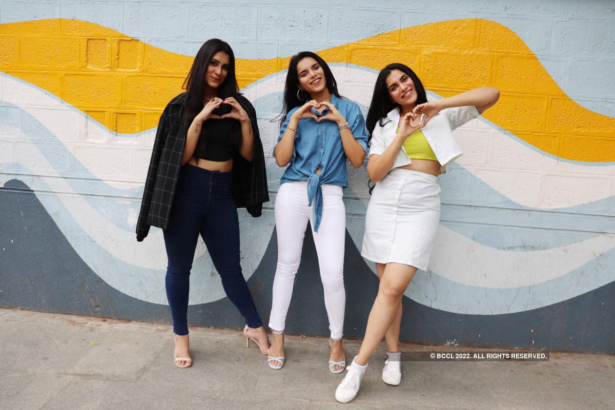 The Jagdish sisters, Vaibhavi, Vainidhi and Vaisiri, pose for their movie, Yaana