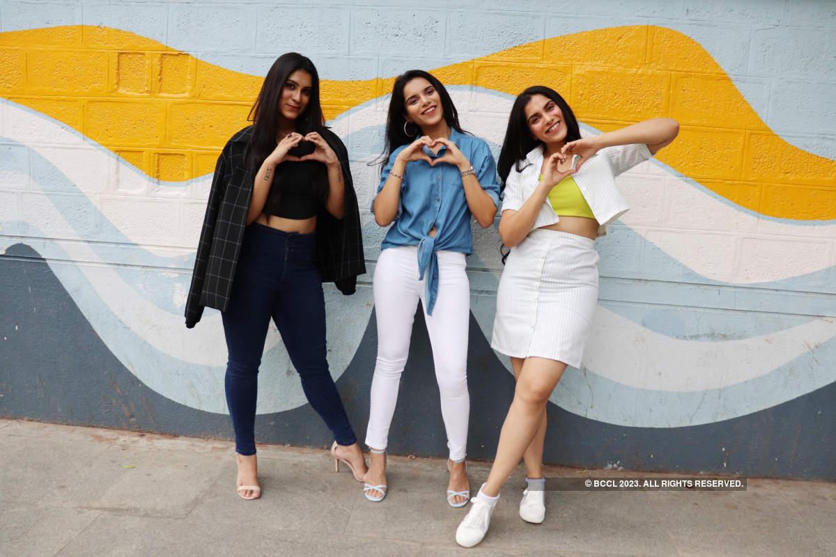 The Jagdish sisters, Vaibhavi, Vainidhi and Vaisiri, pose for their movie, Yaana