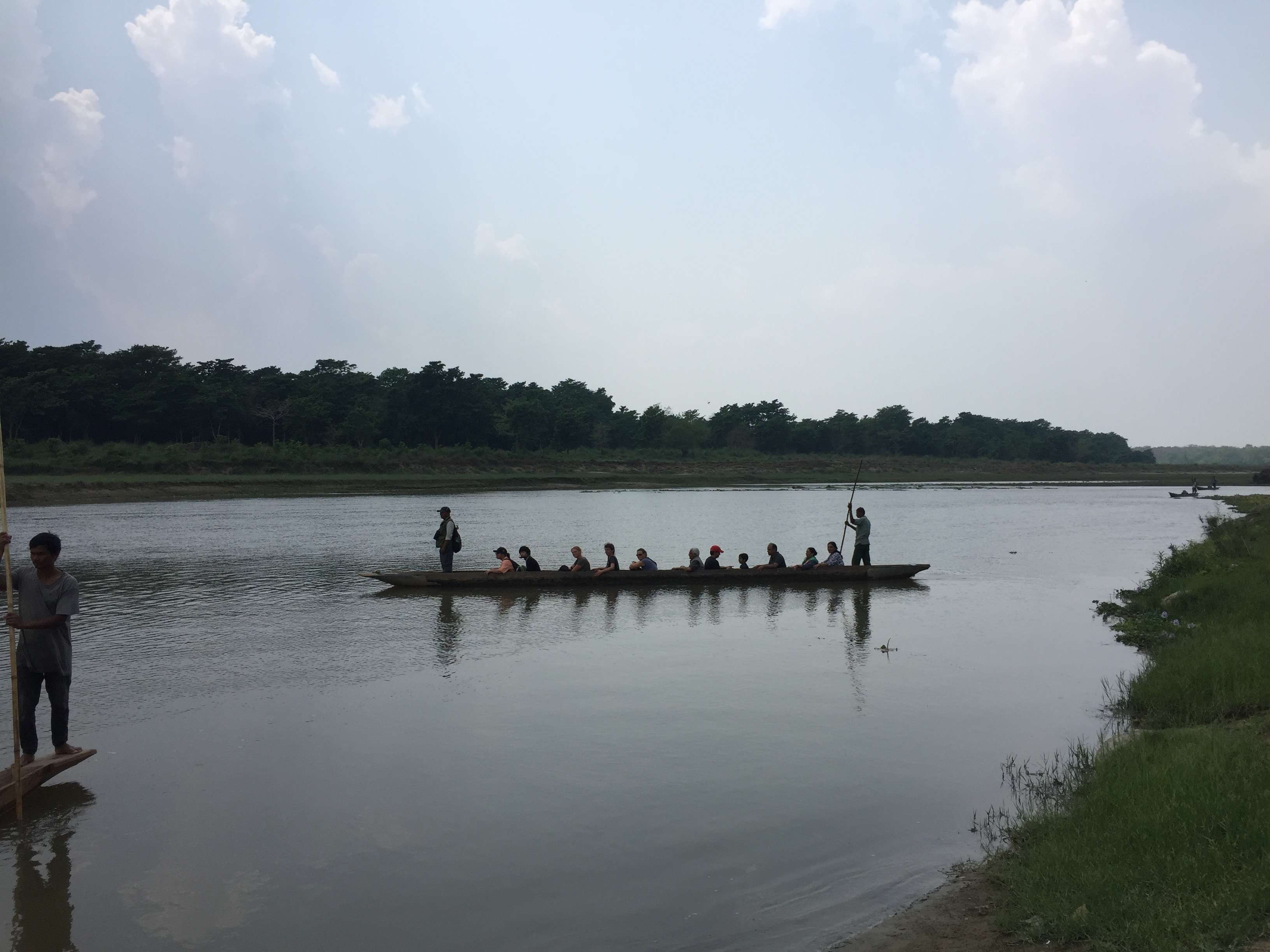 Learning the art of rowing the boat at Kerala.