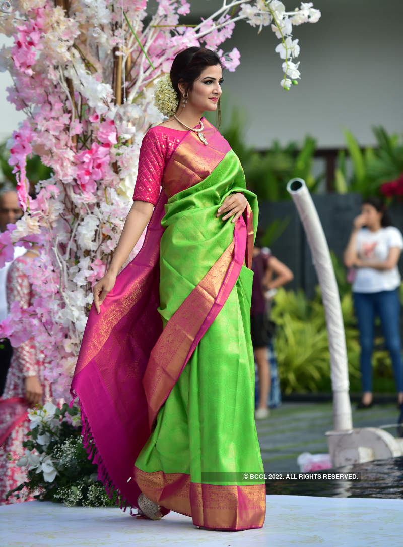 Models showcased glittering outfits at a wedding meet