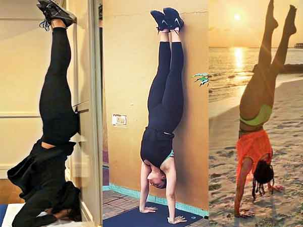 HEELS OVER HEAD: Is going upside down the celebrity fave fitness pose on  Instagram? - Times of India