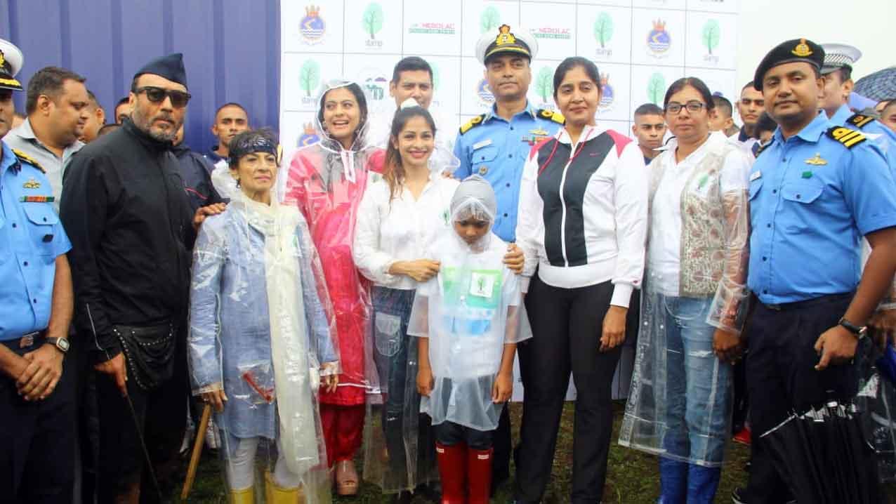 Kajol, Jackie Shroff participate in tree plantation drive in Mumbai's Lonavala