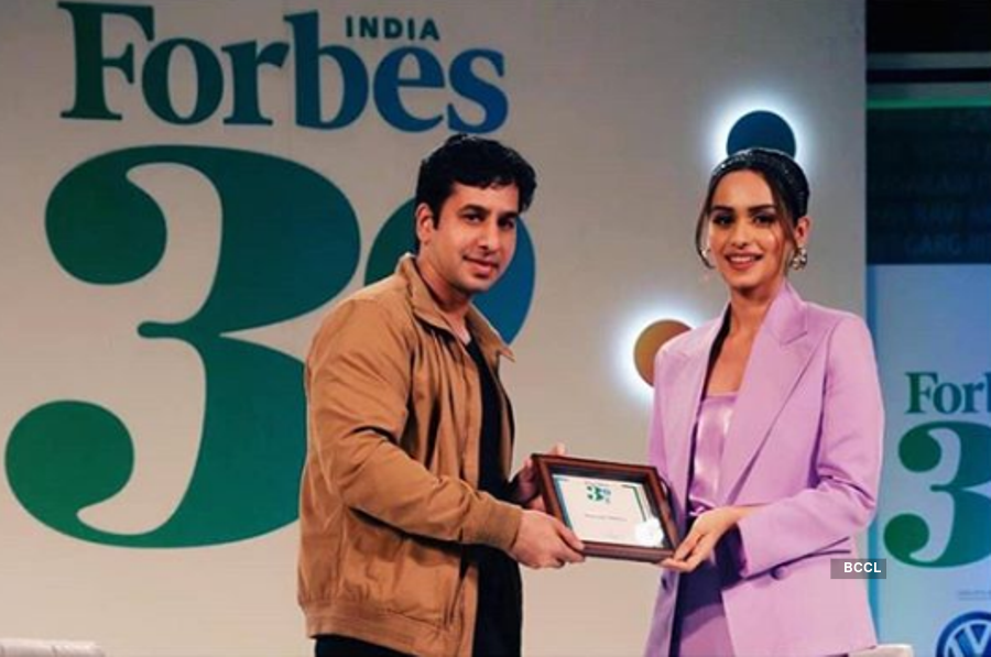 Manushi Chhillar felicitated by Forbes India