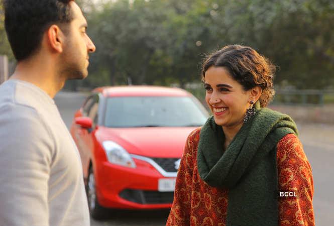 Ayushmann Khurrana and Sanya Malhotra in a still from 'Badhaai Ho'