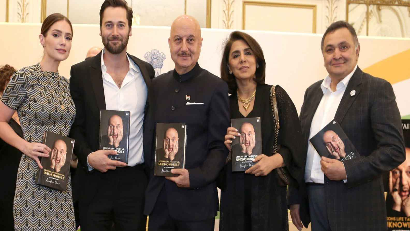 Rishi Kapoor, Neetu Singh launch Anupam Kher's autobiography in New York