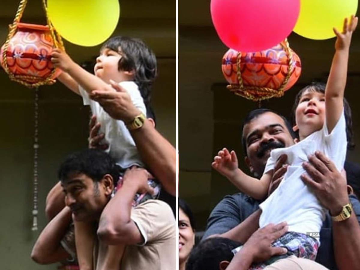 Taimur Ali Khan breaks 'dahi handi' on Janmashtami, pictures go viral