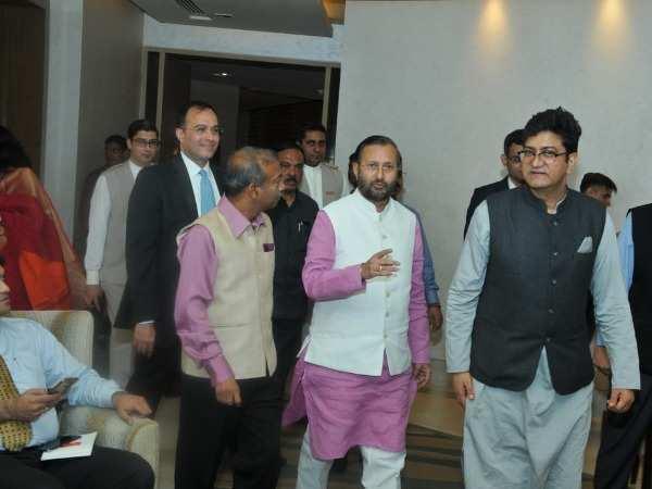 Prakash Javadekar and Amit Khare with Prasoon Joshi