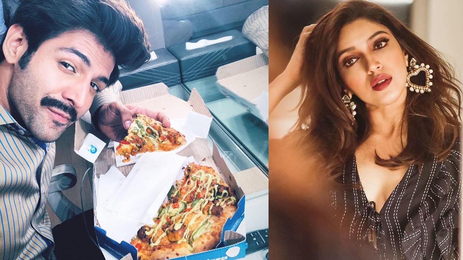 'When Patni wants foodie Pati to look fit': Kartik Aaryan savours pizza sent by reel-wife Bhumi Pednekar