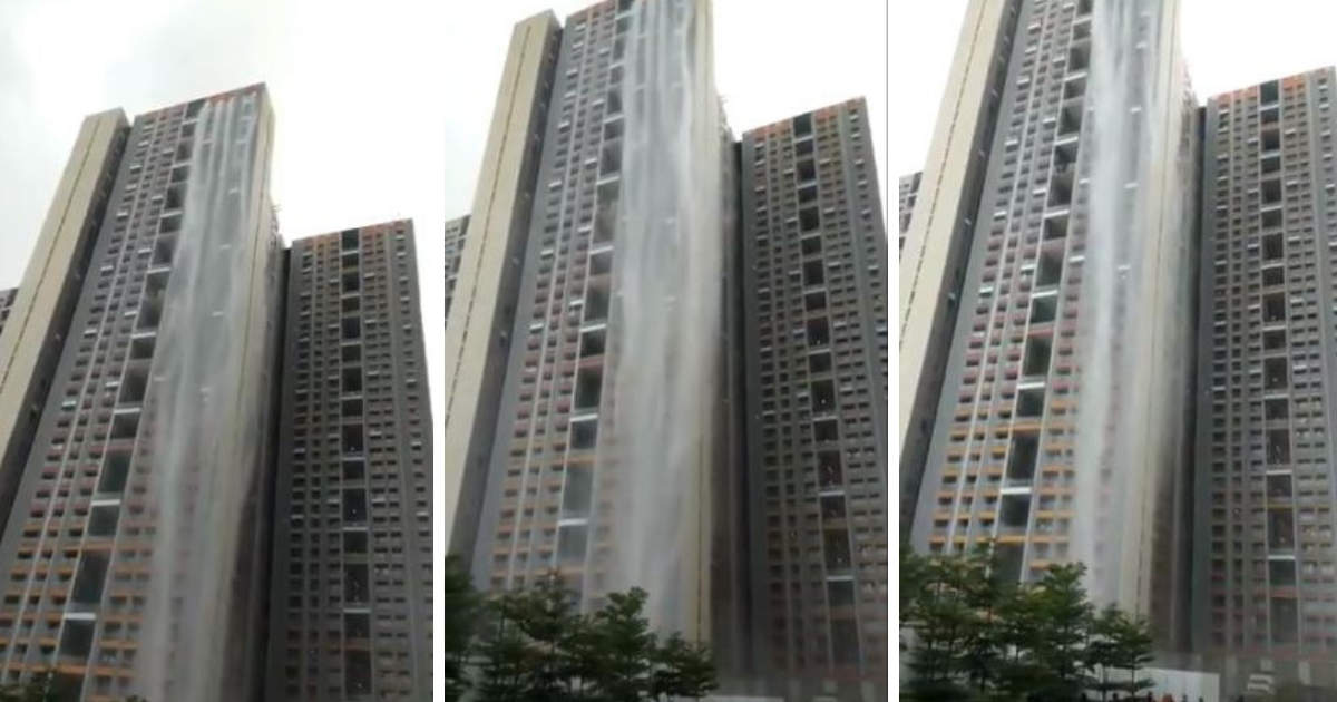 Cuffe Parade highrise 'waterfall' video goes viral - Here's