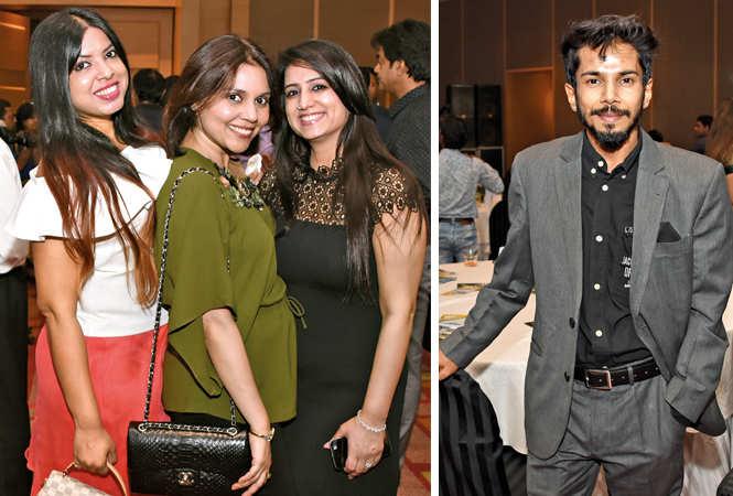 (L) Parul Agarwal, Pooja Garg and Tripti Mehdiratta (R) RJ Vipul (BCCL/ Farhan Ahmad Siddiqui)