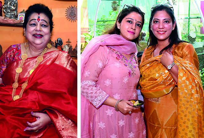 (L) Kumkum Roy Choudhury (R) Kanika and Bhawna (BCCL/ Vishnu Jaiswal)