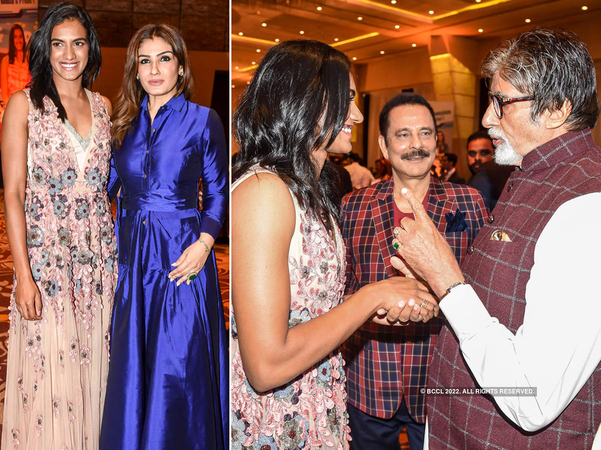 Amitabh Bachchan, Raveena Tandon and other Bollywood stars attend PV Sindhu's felicitation ceremony
