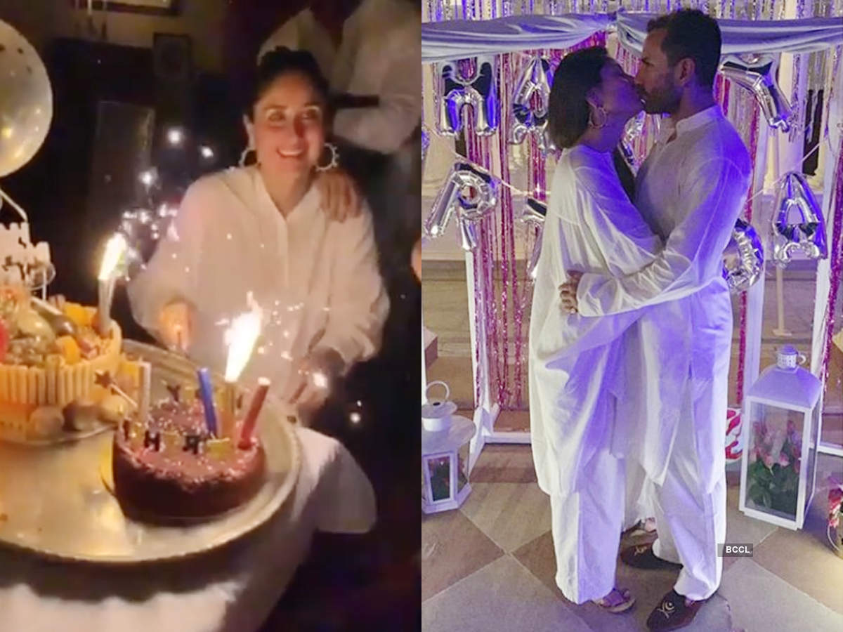 Inside photos: Kareena Kapoor shares a kiss with Saif Ali Khan post her birthday cake-cutting ceremony