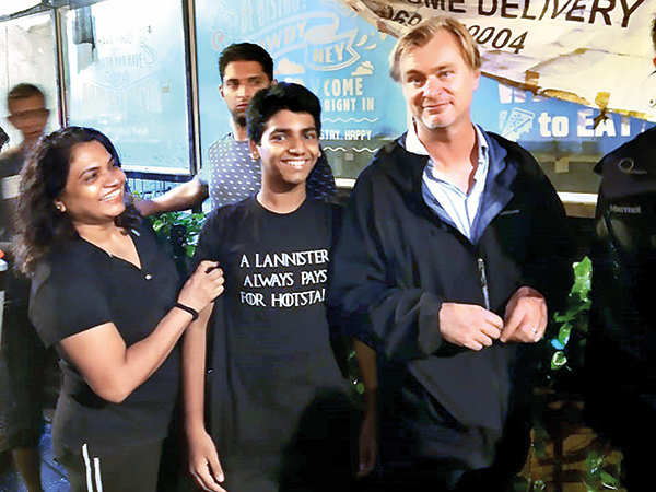 The filmmaker with fans Lydia Almeida and her son Ian after his Mumbai shoot was wrapped up