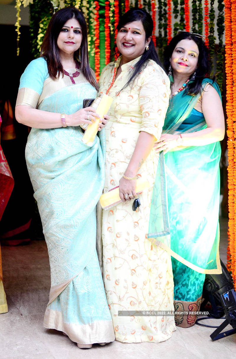 Ladies have gala time at a Teej party