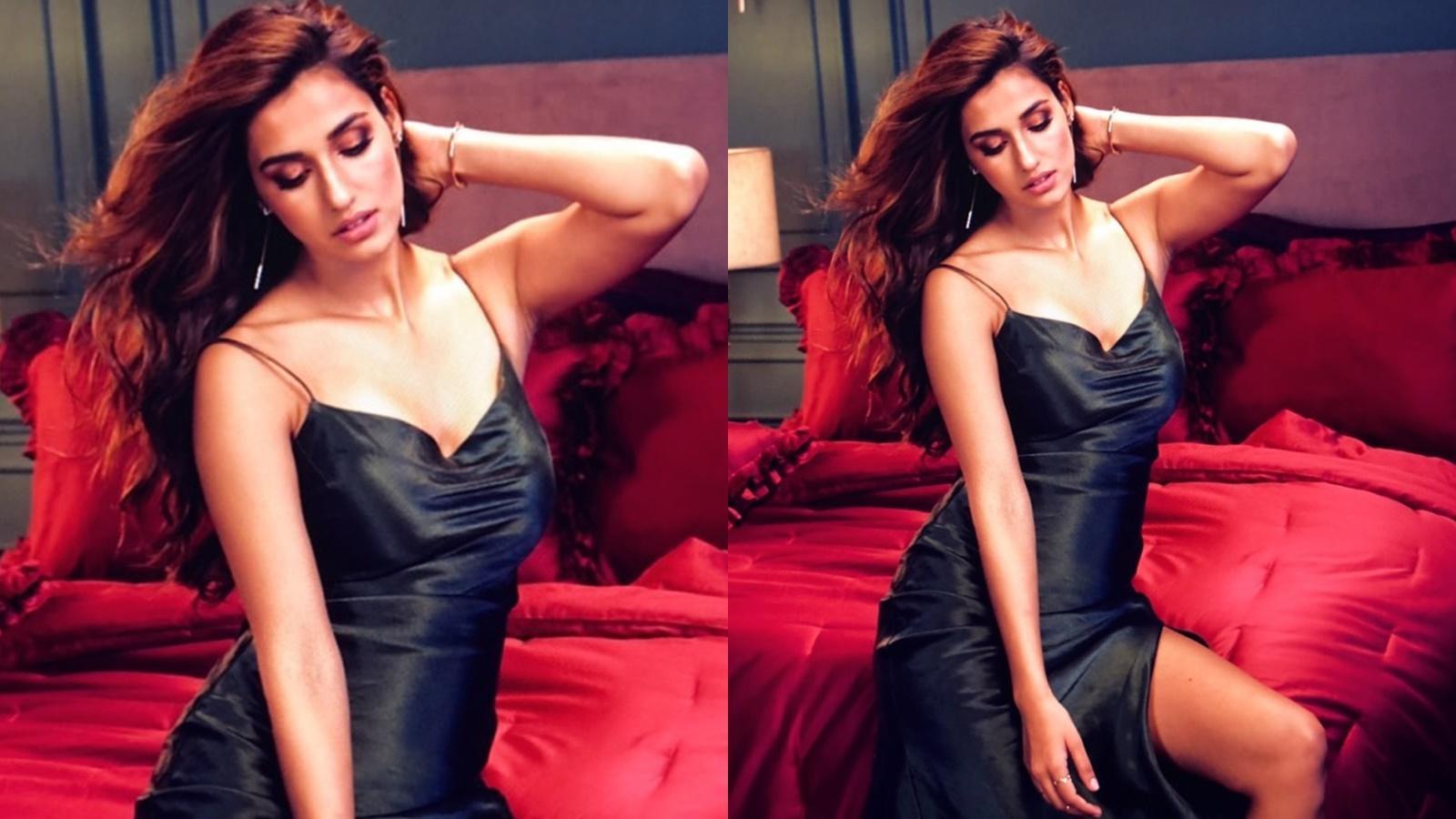 Disha Patani looks drop-dead gorgeous in this black thigh high dress