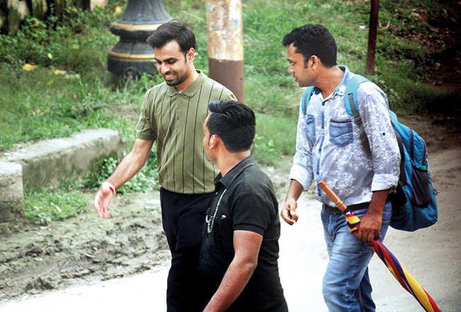Ayushmann's co-star Jeetendra Kumar at the shoot venue (BCCL/ Arvind Kumar)