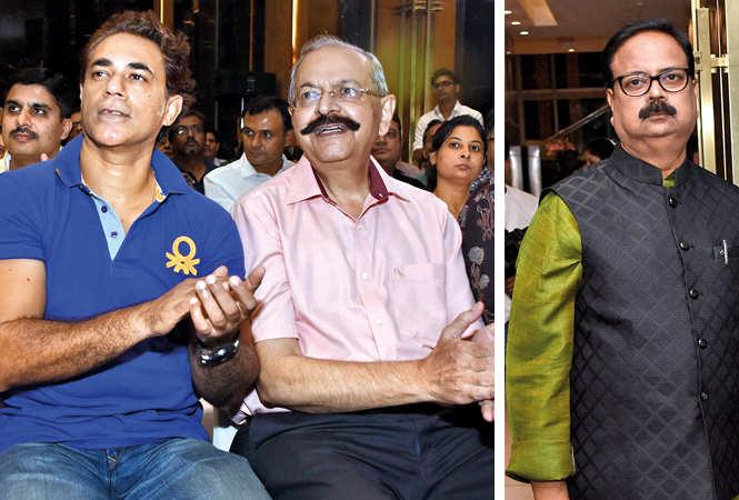 Anurag Dewan (L) and Vishan Prakash with Shailendra   (BCCL/ Farhan Ahmad Siddiqui)
