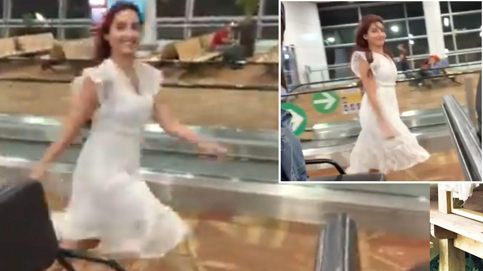 Watch: Nora Fatehi races against a cart at the airport